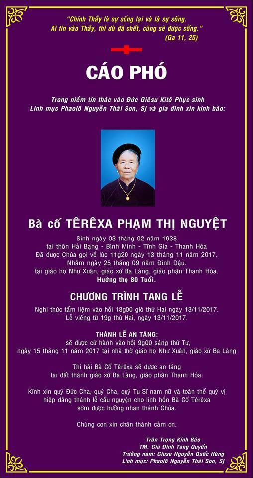 CÁO PHÓ: Bà cố Têrêsa PHẠM THỊ NGUYỆT (thân mẫu Lm.Phaolô Nguyễn Thái Sơn, SJ)