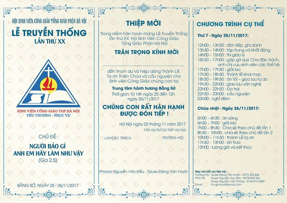 CHƯƠNG TRÌNH Lễ Truyền thống Hội Sinh viên Công giáo Tổng giáo phận Hà Nội lần thứ XX
